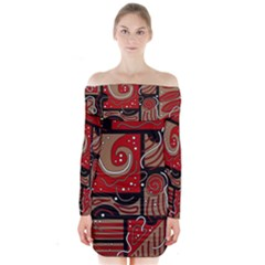 Red and brown abstraction Long Sleeve Off Shoulder Dress