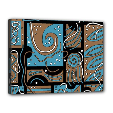 Blue and brown abstraction Canvas 16  x 12