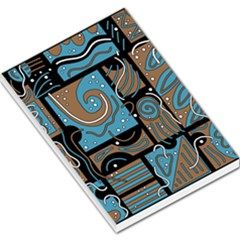 Blue and brown abstraction Large Memo Pads