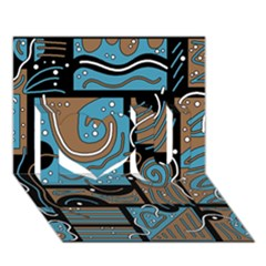 Blue And Brown Abstraction I Love You 3d Greeting Card (7x5)