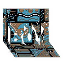 Blue and brown abstraction BOY 3D Greeting Card (7x5)