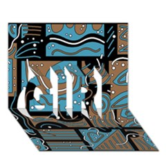 Blue and brown abstraction GIRL 3D Greeting Card (7x5)