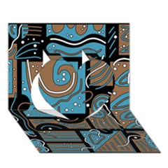 Blue and brown abstraction Heart 3D Greeting Card (7x5)
