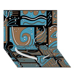 Blue and brown abstraction Heart Bottom 3D Greeting Card (7x5)