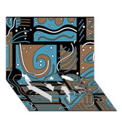 Blue and brown abstraction LOVE Bottom 3D Greeting Card (7x5)