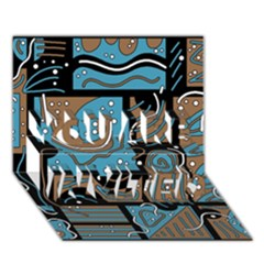 Blue and brown abstraction YOU ARE INVITED 3D Greeting Card (7x5)