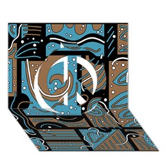 Blue and brown abstraction Peace Sign 3D Greeting Card (7x5)