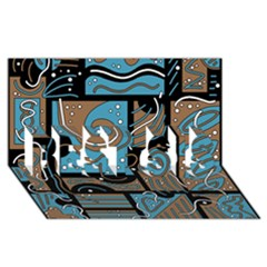 Blue and brown abstraction BEST SIS 3D Greeting Card (8x4)