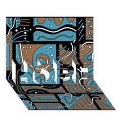 Blue and brown abstraction HOPE 3D Greeting Card (7x5)