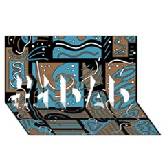 Blue and brown abstraction #1 DAD 3D Greeting Card (8x4)