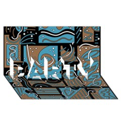 Blue and brown abstraction PARTY 3D Greeting Card (8x4)