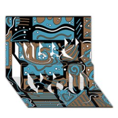Blue And Brown Abstraction Miss You 3d Greeting Card (7x5)