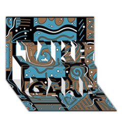 Blue and brown abstraction TAKE CARE 3D Greeting Card (7x5)