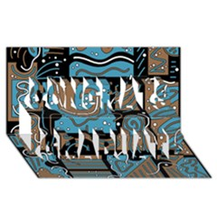 Blue and brown abstraction Congrats Graduate 3D Greeting Card (8x4)
