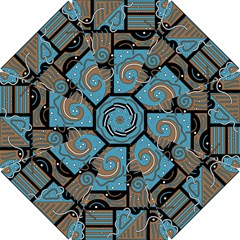 Blue and brown abstraction Hook Handle Umbrellas (Small)