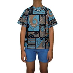 Blue and brown abstraction Kids  Short Sleeve Swimwear