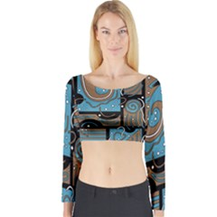 Blue and brown abstraction Long Sleeve Crop Top