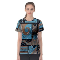 Blue and brown abstraction Women s Sport Mesh Tee