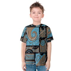 Blue and brown abstraction Kids  Cotton Tee
