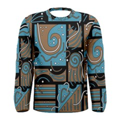 Blue and brown abstraction Men s Long Sleeve Tee
