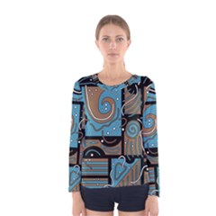 Blue and brown abstraction Women s Long Sleeve Tee