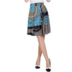 Blue and brown abstraction A-Line Skirt