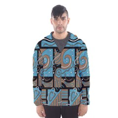 Blue and brown abstraction Hooded Wind Breaker (Men)