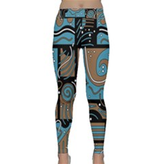 Blue and brown abstraction Yoga Leggings