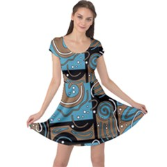 Blue and brown abstraction Cap Sleeve Dresses