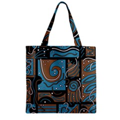 Blue And Brown Abstraction Zipper Grocery Tote Bag