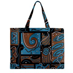 Blue and brown abstraction Zipper Mini Tote Bag