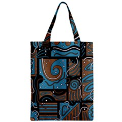 Blue and brown abstraction Zipper Classic Tote Bag