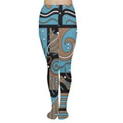 Blue and brown abstraction Women s Tights