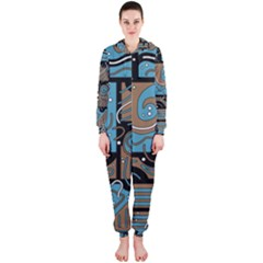 Blue and brown abstraction Hooded Jumpsuit (Ladies)