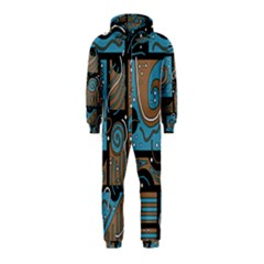 Blue and brown abstraction Hooded Jumpsuit (Kids)