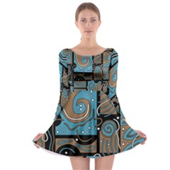 Blue and brown abstraction Long Sleeve Skater Dress