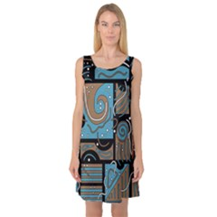 Blue and brown abstraction Sleeveless Satin Nightdress