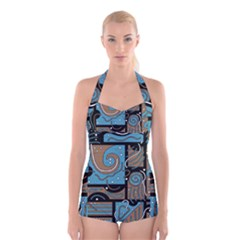 Blue and brown abstraction Boyleg Halter Swimsuit
