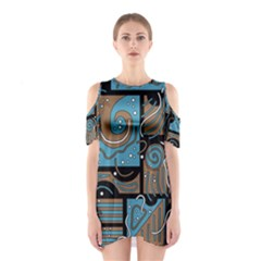 Blue and brown abstraction Cutout Shoulder Dress
