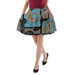 Blue and brown abstraction A-Line Pocket Skirt