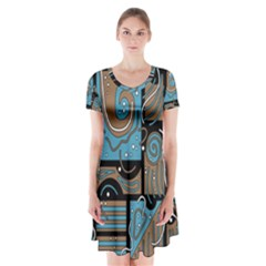 Blue And Brown Abstraction Short Sleeve V Neck Flare Dress