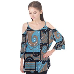 Blue And Brown Abstraction Flutter Tees