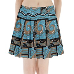 Blue and brown abstraction Pleated Mini Skirt