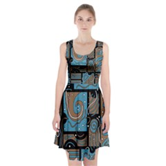 Blue And Brown Abstraction Racerback Midi Dress