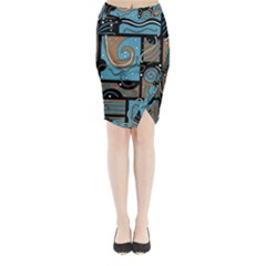 Blue And Brown Abstraction Midi Wrap Pencil Skirt