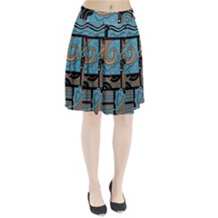 Blue And Brown Abstraction Pleated Skirt