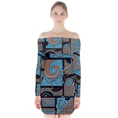 Blue And Brown Abstraction Long Sleeve Off Shoulder Dress