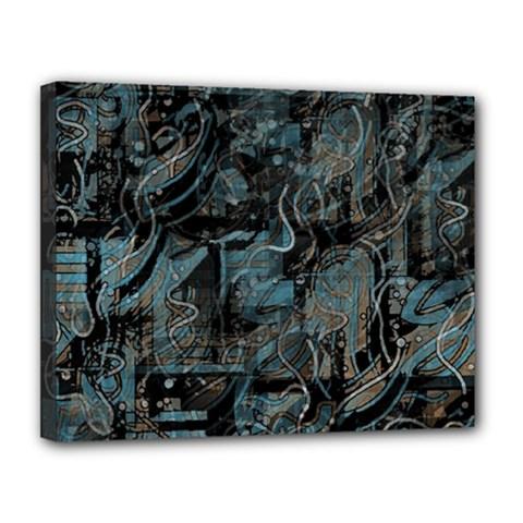 Blue Town Canvas 14  X 11
