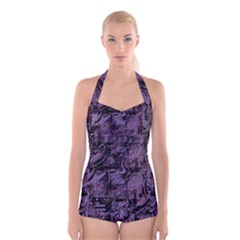 Purple town Boyleg Halter Swimsuit
