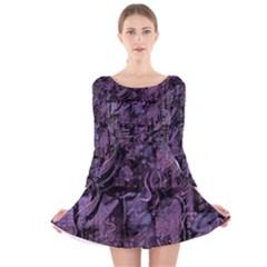 Purple town Long Sleeve Velvet Skater Dress